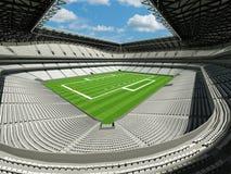 τρισδιάστατος δώστε του όμορφου σύγχρονου μεγάλου σταδίου αμερικανικού ποδοσφαίρου με τα άσπρα καθίσματα Στοκ Εικόνες