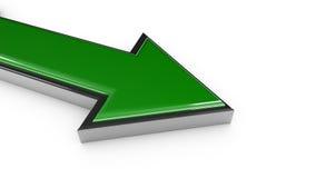 τρισδιάστατος δώστε το πράσινο βέλος μετάλλων Στοκ Φωτογραφία