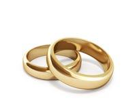 τρισδιάστατος δώστε των χρυσών δαχτυλιδιών Στοκ Φωτογραφία