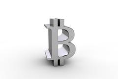τρισδιάστατος δώστε bitcoin το σύμβολο νομίσματος Στοκ εικόνα με δικαίωμα ελεύθερης χρήσης