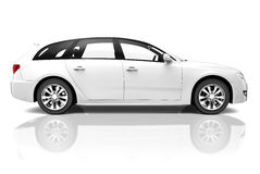 τρισδιάστατο άσπρο αυτοκίνητο πολυτέλειας SUV Στοκ Εικόνες