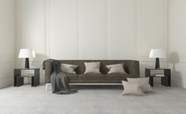 τρισδιάστατο άσπρο καθαρό δωμάτιο απόδοσης με τον άνετους καναπέ και το λαμπτήρα Στοκ Φωτογραφία