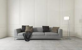 τρισδιάστατο άσπρο καθαρό δωμάτιο απόδοσης με τον άνετο καναπέ Στοκ φωτογραφία με δικαίωμα ελεύθερης χρήσης