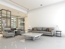 τρισδιάστατο άσπρο καθιστικό απόδοσης με τον καναπέ και πολυθρόνα παραδείγματος χάριν της σύνθεσης επίπλων και τον καλό καναπέ σχ Στοκ Φωτογραφίες