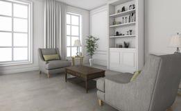 τρισδιάστατο άσπρο μικρό καθιστικό απόδοσης με τα άνετα έπιπλα Στοκ φωτογραφία με δικαίωμα ελεύθερης χρήσης