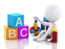 τρισδιάστατο άσπρο παιχνίδι μωρών ανθρώπων με τα παιχνίδια ελεύθερη απεικόνιση δικαιώματος
