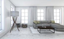 τρισδιάστατο άσπρο όμορφο καθιστικό απόδοσης με τα συμπαθητικά έπιπλα Στοκ Εικόνες