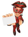 τρισδιάστατο άτομο με ένα κοστούμι καρναβαλιού που παρουσιάζει κενή κάρτα Στοκ Φωτογραφίες