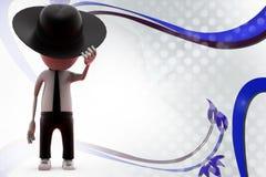 τρισδιάστατο άτομο με την απεικόνιση καπέλων κάουμποϋ Στοκ Εικόνα
