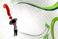 τρισδιάστατο άτομο με το καπέλο κάουμποϋ και την απεικόνιση ερωτηματικών Στοκ Εικόνα