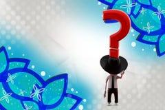 τρισδιάστατο άτομο με το καπέλο κάουμποϋ και την απεικόνιση ερωτηματικών Στοκ Φωτογραφίες