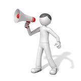 τρισδιάστατο άτομο με megaphone Στοκ φωτογραφία με δικαίωμα ελεύθερης χρήσης