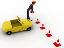 τρισδιάστατο άτομο που παίρνει τον κώνο κυκλοφορίας σε και με την έννοια αυτοκινήτων Στοκ Φωτογραφίες