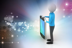τρισδιάστατο άτομο που παρουσιάζει υπολογιστή ταμπλετών Στοκ εικόνα με δικαίωμα ελεύθερης χρήσης