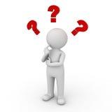 τρισδιάστατο άτομο που σκέφτεται με τα κόκκινα ερωτηματικά Στοκ Εικόνα