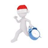 τρισδιάστατο άτομο σε ένα καπέλο Χριστουγέννων που τρέχει με έναν συναγερμό ελεύθερη απεικόνιση δικαιώματος