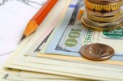 τρισδιάστατο έννοιας δολαρίων ποσοστό ανάπτυξης ανταλλαγής μειωμένο Στοκ Εικόνα