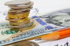 τρισδιάστατο έννοιας δολαρίων ποσοστό ανάπτυξης ανταλλαγής μειωμένο Στοκ φωτογραφία με δικαίωμα ελεύθερης χρήσης