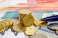 τρισδιάστατο έννοιας δολαρίων ποσοστό ανάπτυξης ανταλλαγής μειωμένο Στοκ εικόνα με δικαίωμα ελεύθερης χρήσης
