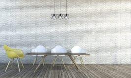 τρισδιάστατο δίνοντας ελάχιστο ύφος άσπρος τουβλότοιχος με τις καρέκλες Στοκ Φωτογραφία