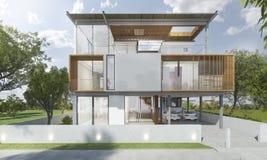 τρισδιάστατο δίνοντας μέτωπο του σύγχρονου σπιτιού με το καλό σχέδιο το καλοκαίρι Στοκ Εικόνες