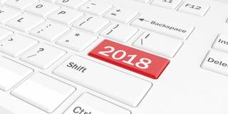 τρισδιάστατο δίνοντας νέο έτος 2018 σε ένα πληκτρολόγιο απεικόνιση αποθεμάτων