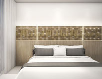 τρισδιάστατο δίνοντας ξύλινο σχέδιο τοίχων με την οδηγημένη ελαφριά κρεβατοκάμαρα Στοκ φωτογραφία με δικαίωμα ελεύθερης χρήσης