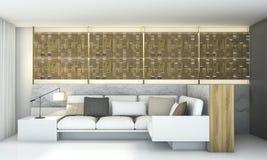 τρισδιάστατο δίνοντας ξύλινο σχέδιο τοίχων με το οδηγημένο ελαφρύ καθιστικό Στοκ Φωτογραφίες