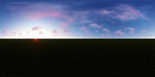 τρισδιάστατο δίνοντας πανόραμα ενός μπλε ουρανού με τα ρόδινα σύννεφα διανυσματική απεικόνιση