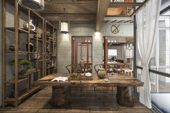 τρισδιάστατο δίνοντας συμπαθητικό σχέδιο κινεζικό λειτουργώντας δωμάτιο με τη διακόσμηση Στοκ εικόνα με δικαίωμα ελεύθερης χρήσης