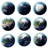 τρισδιάστατο δίνοντας σύνολο πλανήτη Γη, σφαίρα από τις διαφορετικές γωνίες, καθορισμένη γη στο άσπρο υπόβαθρο για το σχέδιό σας Στοκ Εικόνα