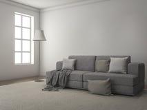 τρισδιάστατο δίνοντας φως της ημέρας από το παράθυρο κατά μήκος του καναπέ και του τάπητα Στοκ Φωτογραφίες