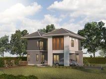 τρισδιάστατο δίδυμο σπίτι απόδοσης με το πεζούλι κήπων Στοκ εικόνες με δικαίωμα ελεύθερης χρήσης