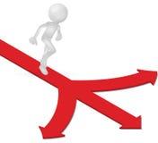 τρισδιάστατο ανθρώπινο τρέξιμο με τους τρόπους κατεύθυνσης βελών διανυσματική απεικόνιση