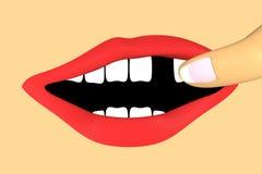 τρισδιάστατο ανοικτό ανθρώπινο στόμα με ένα ελλείπον δόντι Στοκ Εικόνα