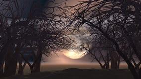 τρισδιάστατο απόκοσμο τοπίο με τα δέντρα διανυσματική απεικόνιση