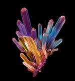 τρισδιάστατο αφηρημένο κρύσταλλο ουράνιων τόξων, κρυσταλλωμένος πολύτιμος λίθος, Στοκ φωτογραφία με δικαίωμα ελεύθερης χρήσης