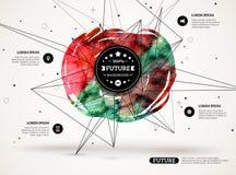 τρισδιάστατο αφηρημένο υπόβαθρο με το λεκέ χρωμάτων και Στοκ φωτογραφία με δικαίωμα ελεύθερης χρήσης