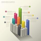 τρισδιάστατο αφηρημένο infographics ιστογραμμάτων