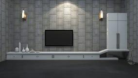 τρισδιάστατο γραφείο TV απόδοσης σύγχρονο στο ελάχιστο δωμάτιο με το λαμπτήρα Στοκ Εικόνα