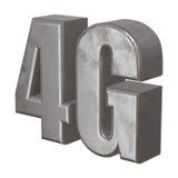 τρισδιάστατο εικονίδιο μετάλλων 4G στο λευκό Στοκ Εικόνα