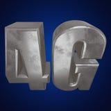 τρισδιάστατο εικονίδιο μετάλλων 4G στο μπλε Στοκ Εικόνα