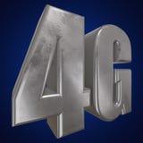 τρισδιάστατο εικονίδιο μετάλλων 4G στο μπλε Στοκ Φωτογραφία