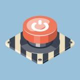 τρισδιάστατο εκκίνησης-στάσης κόκκινο κουμπί έκτακτης ανάγκης Στοκ εικόνα με δικαίωμα ελεύθερης χρήσης