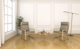 τρισδιάστατο εκλεκτής ποιότητας καθιστικό απόδοσης με το λίκνισμα της καρέκλας Στοκ Φωτογραφίες