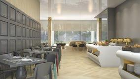 τρισδιάστατο εστιατόριο μπουφέδων πολυτέλειας απόδοσης στο κομψό ξενοδοχείο Στοκ Φωτογραφίες