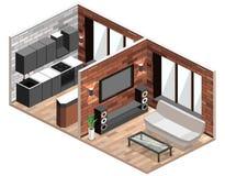τρισδιάστατο εσωτερικό καθιστικό εικόνας διαμέρισμα σοφιτών με το τουβλότοιχο διανυσματική απεικόνιση