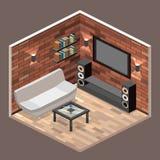 τρισδιάστατο εσωτερικό καθιστικό εικόνας διαμέρισμα σοφιτών με το τουβλότοιχο απεικόνιση αποθεμάτων