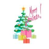 τρισδιάστατο λευκό δέντρων εικόνας s δώρων Χριστουγέννων ανασκόπησης Στοκ Εικόνα