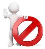 τρισδιάστατοι λευκοί άνθρωποι. Απαγορευμένο σημάδι Στοκ εικόνες με δικαίωμα ελεύθερης χρήσης